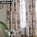 Pastoral Leaves Printed Cotton Linen Curtains for Bedroom for Living Room Sheer Voile Curtains Window Drapes