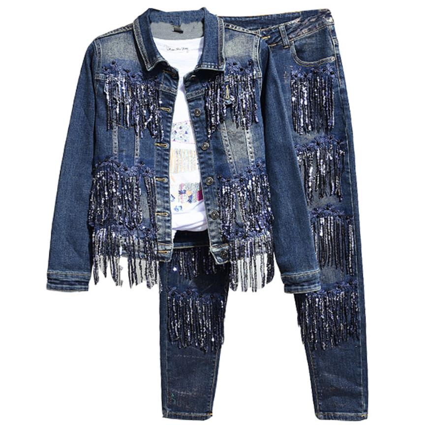plus size 2XL!Denim Jeans tassel sequined Women 2 Piece set Jacket and Pencil Jeans Denim Set Women Two Piece Sets
