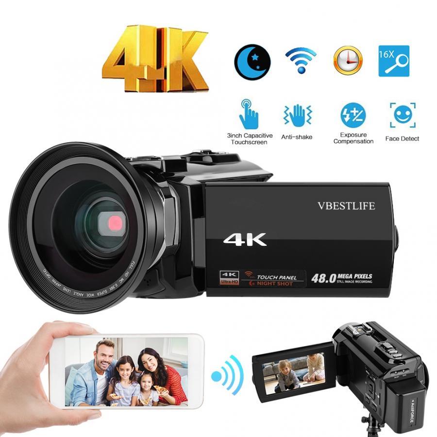 4 k 48mp wifi câmera de vídeo digital 16x digital zoom filmadora com 3 polegadas touchscreen lente grande angular câmera câmera profissional cam