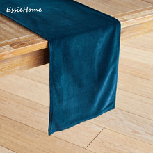 ESSIE HOME Navy Blue Dark Teal Double Side Matte Velvet High End Table Runner Cloth Placemat
