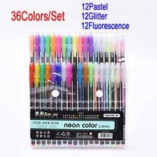 DELVTCH 36 Gel Pens set Color gel pens Glitter Metallic Good gift For Coloring Kids Sketching Painting Drawing