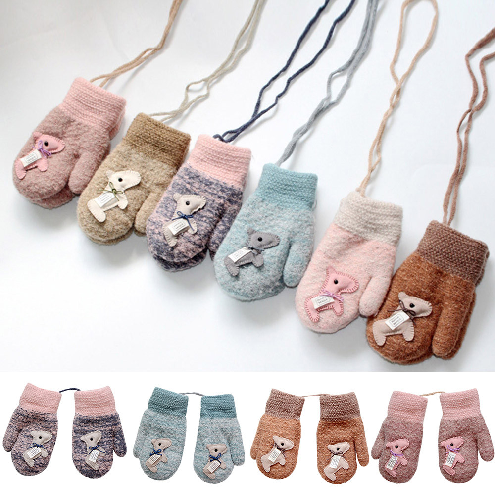 Accessories Fashion Winter 0-3 Years Old Baby Gloves Cute Cartoon Knit Wool Boy And Girl Warm Mittens Velvet Thick Child Kids Finger Warming