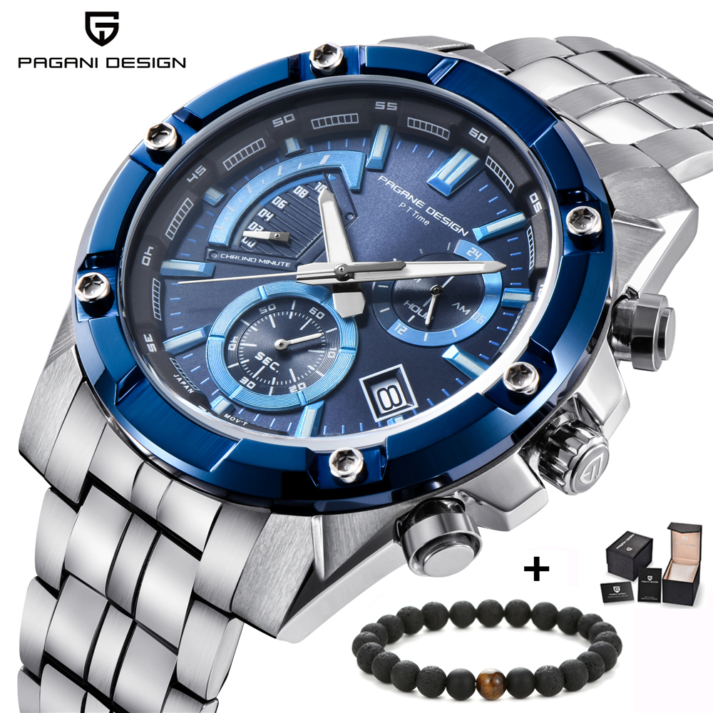 PAGANI DESIGN Top Brand Luxury Mens Quartz Watch Fashion Stainless Steel Waterproof Chronograph Business Male Wristwatches Clock pagani design top luxury brand watches mens stainless steel band fashion business quartz watch wristwatch male