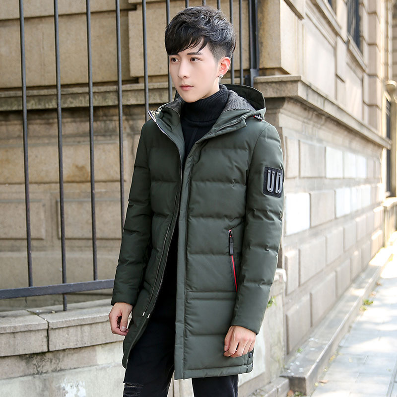 2018 winter plus size mens Long section white Duck down jacket With hood windproof waterproof Breathable keep warm Thick coat