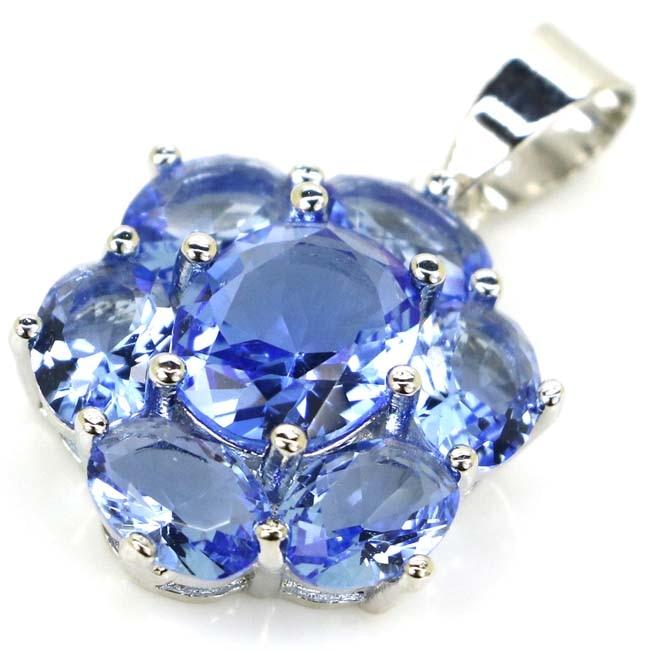 27x17mm Deluxe Rich Blue Violet Tanzanites Woman's Wedding Silver Pendant
