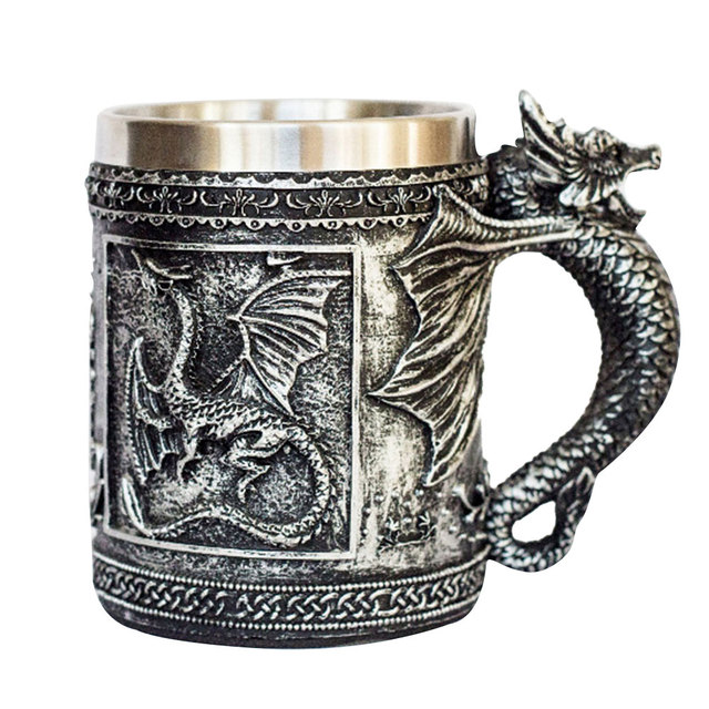 3D Resin Pterosaur Design Cups Scary Stainless Steel Durable Decorative 3D Skull Wine Cup Halloween Beer for Halloween