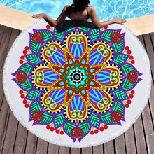 Round Beach Towels Tassels Mandala Towel Microfiber Terry Large 150cm Summer Sport Yoga Mat Blanket Toalla De Playa