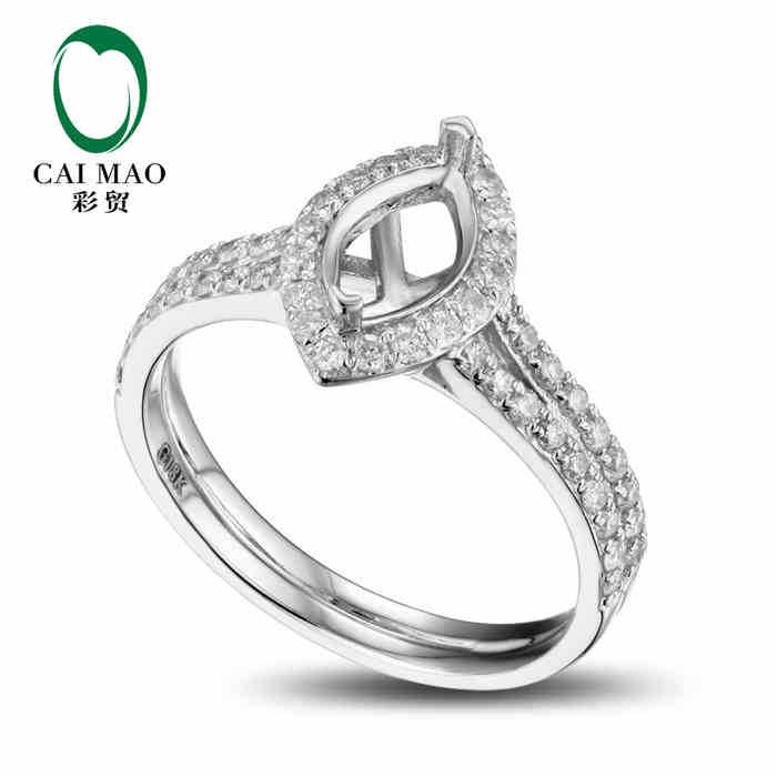 CaiMao Marquise cut Semi Mount Ring Settings & 0.48ct Diamond 18k White Gold Gemstone Engagement Ring Fine Jewelry