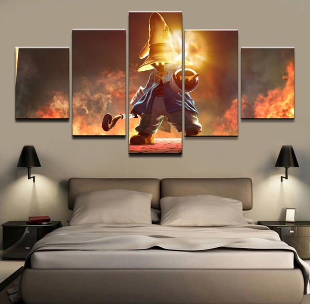 modern wall art frame canvas canvas painting 5 panel black mage game