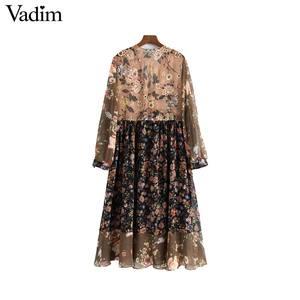 Image 2 - Vadim נשים V צוואר פרחוני שיפון קפלים שמלה לראות דרך ארוך שרוול בציר נשי רטרו שיק אמצע עגל שמלת vestidos QA763