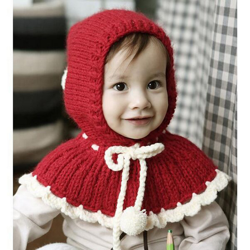 2017 Beautiful Children S Winter Hat With Ties Red Pink