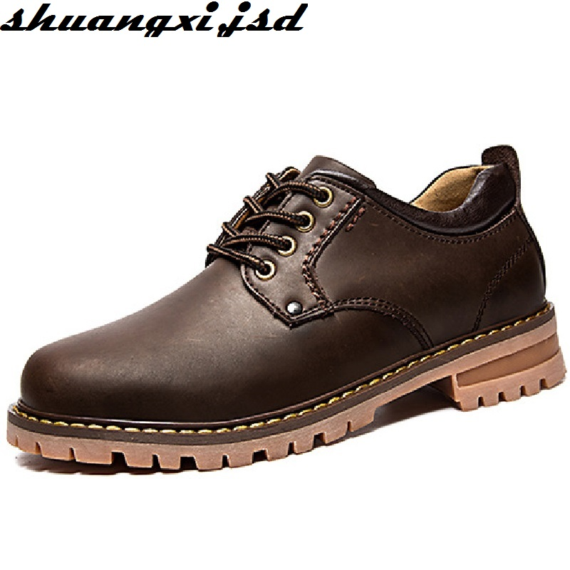 Handmade Genuine Leather Men Shoes Autumn Fashion New Arrive Comfortable Top Quality Male Casual Shoes dxkzmcm genuine leather men loafers comfortable men casual shoes high quality handmade fashion men shoes