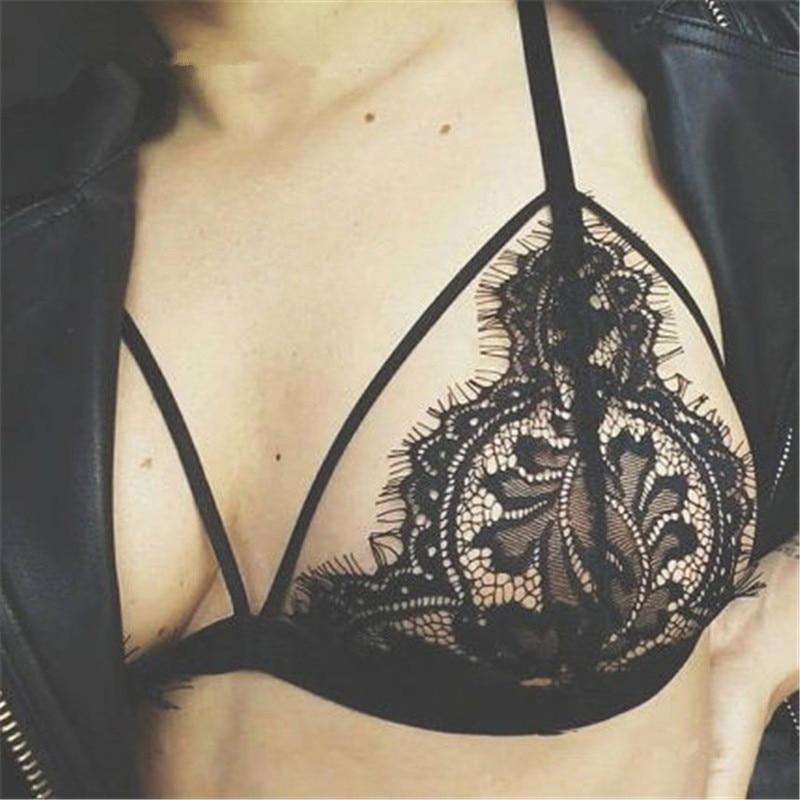Quality Sexy Lace Underwear For Women Bra Hollow Translucent Underwear Sheer Lace Strap Lingerie Bra Top Bustier Brassiere