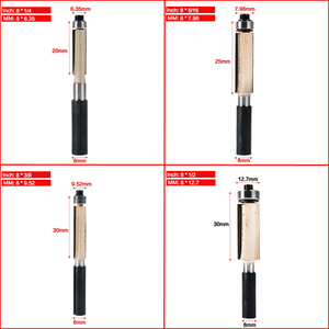 """Image 2 - Tideway 8mm Shank 2"""" Flush Trim Router Bit with Bearing for Wood Template Pattern Bit Tungsten Carbide Milling Cutter for Wood"""