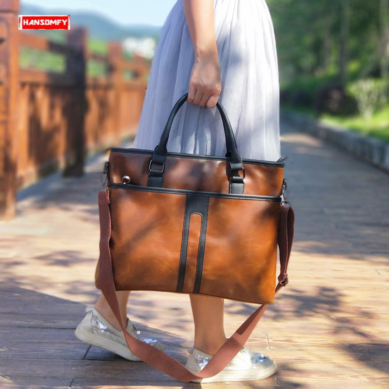 New Business Women Handbags Computer Briefcase Large Capacity 15 Inch Laptop Briefcases Female Leather Shoulder Messenger Bags