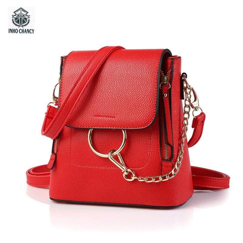INHO CHANCY Women Backpack 3 Kinds of Usage Multiple Functions Mini Backpacks Women PU School Bag For Teenagers Girls Mochila