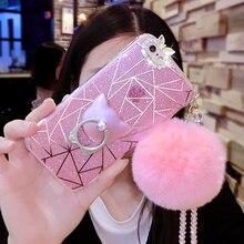 Алмаз милый Кот кольцо с натуральным кроличьим мехом мяч Cry S Тал цепи с сияющими блестками ca s e чехол для Iphone 7 6 6 S plu S 5 5S для SAM S Унг Galaxy