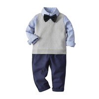 gentleman shirt wool vest trousers tie 4piece Wholesale Children's Boutique Clothing Sets Cotton Clothings Set For Boys Outfits