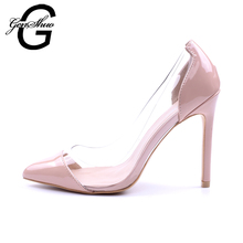 GENSHUO Women Pumps 2018 Transparent 11cm High Heels Sexy Pointed Toe Slip-on Wedding Dress Shoes For Lady Size 41 42 Leopard