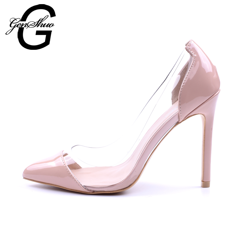 GENSHUO Women Pumps 2018 Transparent 11cm High Heels Sexy Pointed Toe Slip-on Wedding Party Shoes For Lady Size 41 42 Leopard sexy hollow cut out wood pattern high heel pumps pointed toe slip on women party dress shoes sexy 11cm office lady pumps