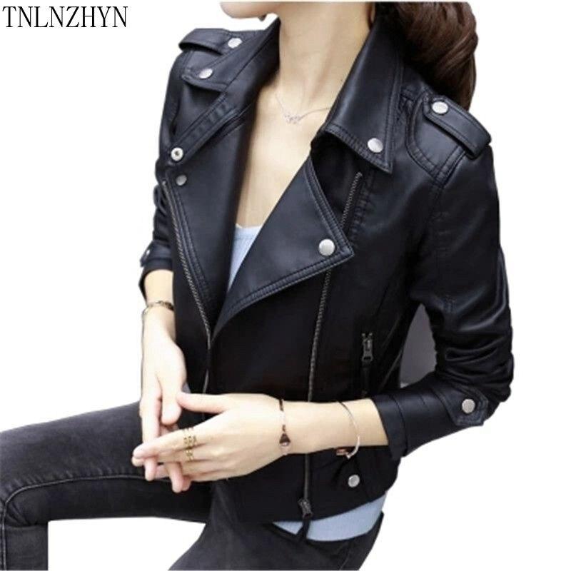 ecff1ff90644 TNLNZHYN 2017 Printemps Femmes Veste En Cuir Lavé Pu Faux Cuir PU Manteau  Zipper Court De Base Vestes Moto Outwear SK336