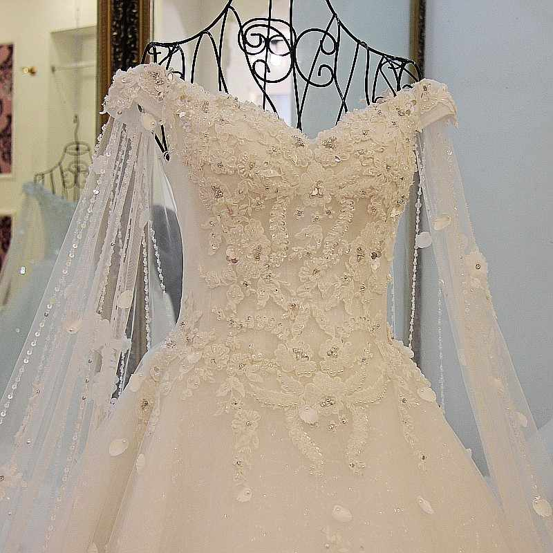 f12ecf8dd8b02 LS41596 Luxury Wedding Dresses Princess with Long Cape Ivory Bridal Gowns  Corset Back Robe De Mariee 2017 Real Photos