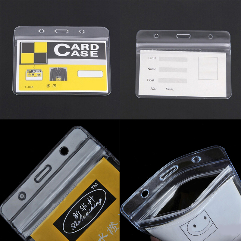 10 Pcs/lot Convenient Clear PVC Exhibition ID Name Badge Card Plastic Pocket Holder Waterproof Pouches Office Supplies 98x80mm