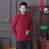 Summer New Red Chinese Traditional Men's Mandarin Collar Solid Cotton Long Sleeve Kung Fu Shirt Coat M L XL XXL XXXL D02