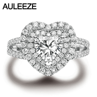 AULEEZE Double Halo 1.0ct Heart Shape D Color Moissanites Diamond 14k 585 White Gold Wedding Rings For Women Fine Jewelry