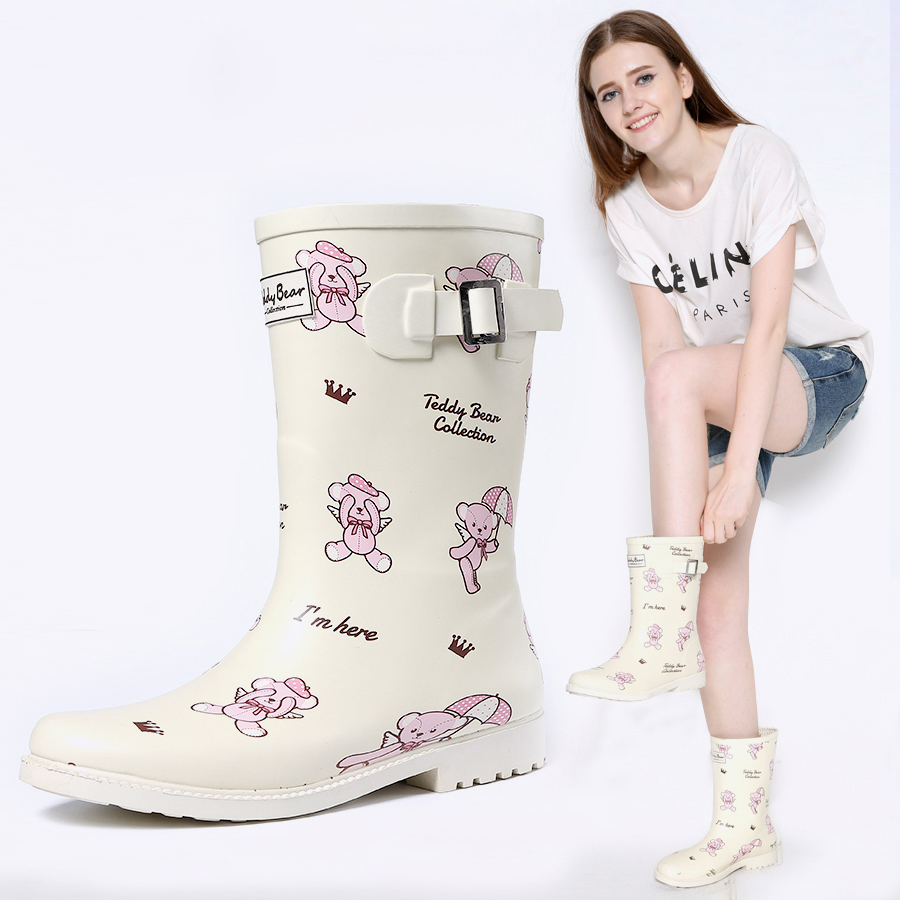 Womens mid-calf rubber rainboots high quality handmade chelsea anklerain rain boots waterproof fashion boots for lady girls laura ashley butterfly rainboots for girls