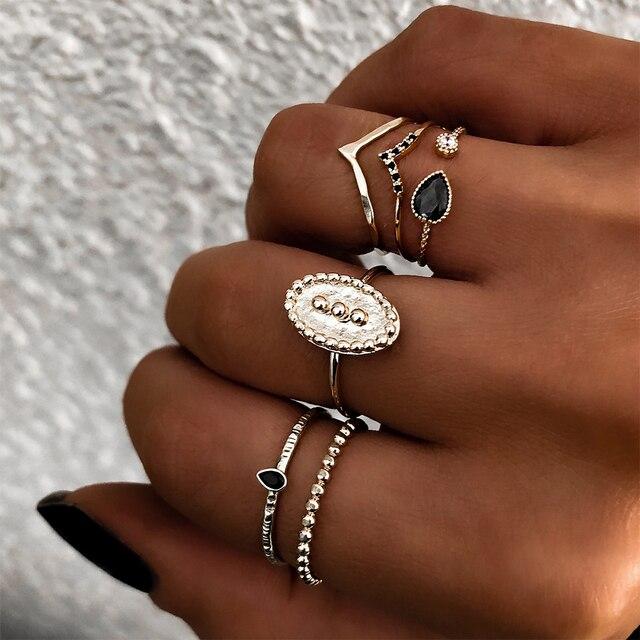 Thời trang Vòng Bohemia 6 cái/bộ Charm Vàng Màu Midi Finger Nhẫn Set Đối Với Phụ Nữ Cổ Điển Knuckle Đảng Nhẫn Punk Đồ Trang Sức