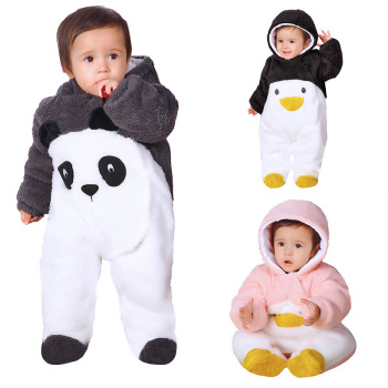 Fashion Winter children's rompers baby Newbaby panda penguin warm outwear soft one pieces body suits for boy girl 0-1Age