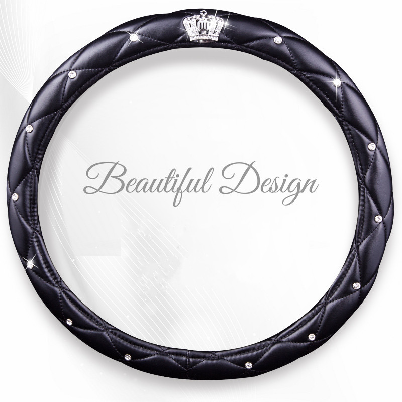 Steering-Wheel-Covers Car-Accessories Pink Diamond Girls Women Fashion Black for Lady title=