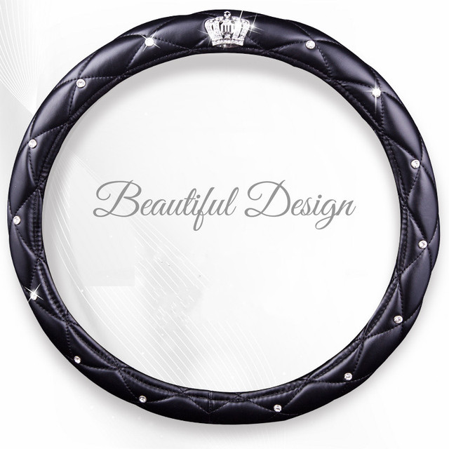 Fashion Women PU Leather Car Steering Wheel Covers Diamond Black Pink Auto Steering-Covers Cases for  Lady Girls Car Accessories