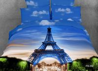 3d eiffel tower printed duvet cover queen 100% cotton sky scenic pattern bed sheet set full king size 4/5pcs blue adult kids