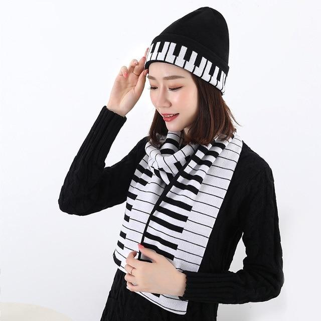 Envío libre moda música notas piano jacquard caliente bufanda ...