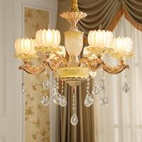 Европейская люстра светильники для зала, цинковые сплавы, Нефрите, лампы в виде свечей, шикарная обстановка, гостиная, с украшением в виде кр