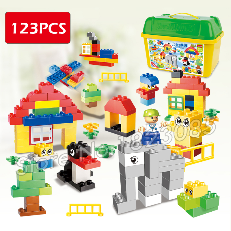123pcs My first Park Model Building Blocks Big Size Action Bricks 2016 Compatible With Lego Duplo my first animals