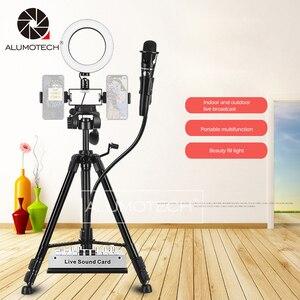 Atenuación bi-color Led Selfie Ring Light con abrazadera de trípode para teléfono inteligente micófono Video Studio Youtue Live Photography