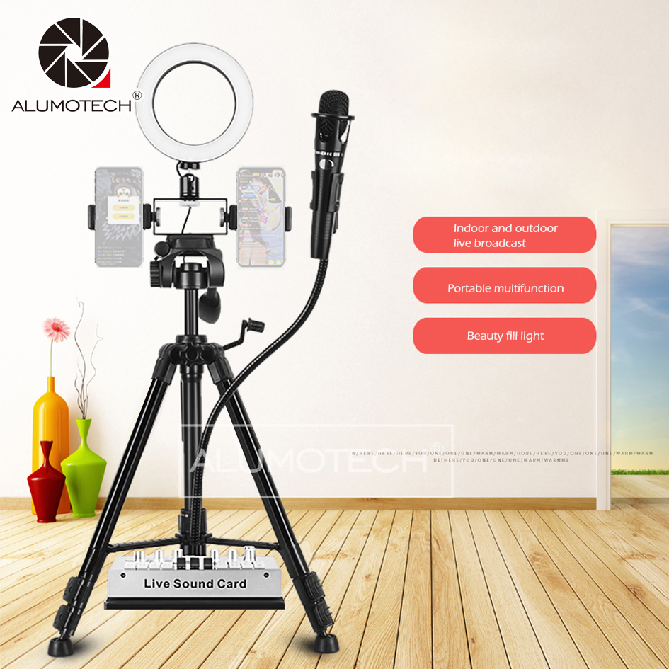 Dimming Bi-color Led Selfie Ring Light With Tripod Clamps For Smart Phone Micophone Video Studio Youtue Live Photography image