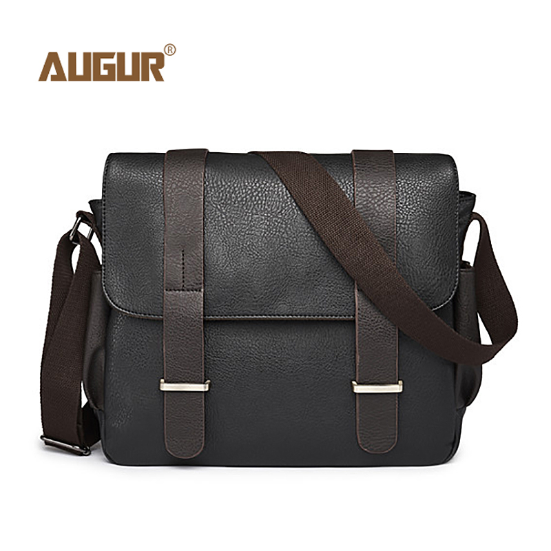AUGUR Men Bag Shoulder Leather And Canvas Business Messenger Bag Male Waterproof Casual Blacck Crossbody Travel Bags Sac Homme augur new male small canvas crossbody bag multifunction tool functional bag men shoulder designer messenger travel shoulder bags