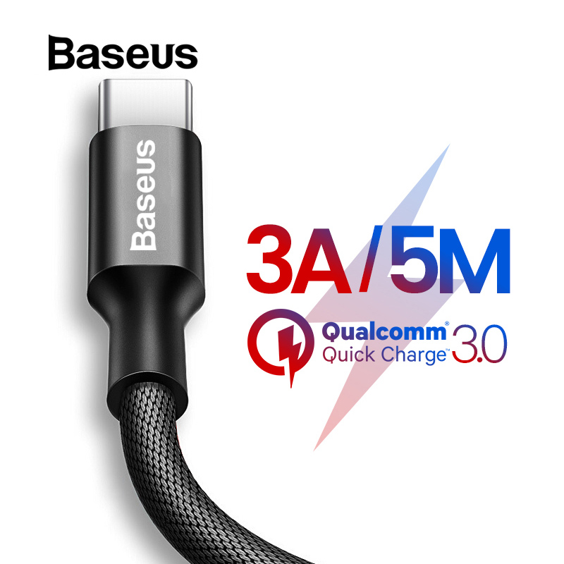 Baseus 3A USB Type C Cable for Samsung S9 S8 5M QC 3.0 Fast Charger USB C for Huawei