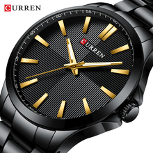 цена на CURREN Reloj Hombres Mens Watches Luxury Fashion Mens Black Glod Stainless Steel Quartz Wrist Watch Male Watch Orologio Uomo