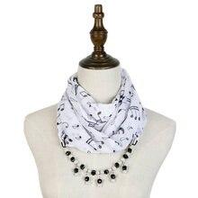 Женский шарф с жемчугом и принтом белый черный подвеской