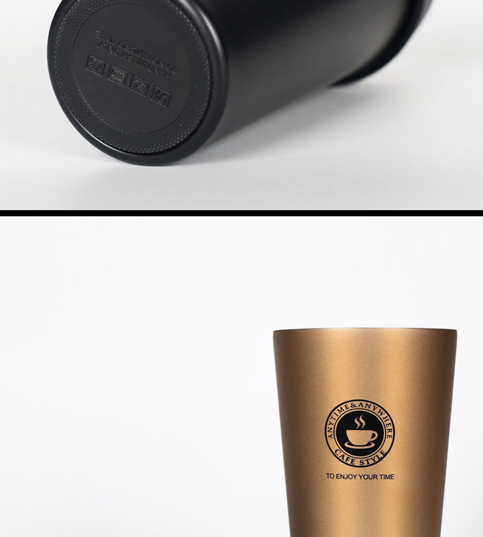 LIYIMENG 500mL Office Travel Coffee Mug 304 Stainless Steel Classical Mug Milk Tea Cup Water Bottle 6