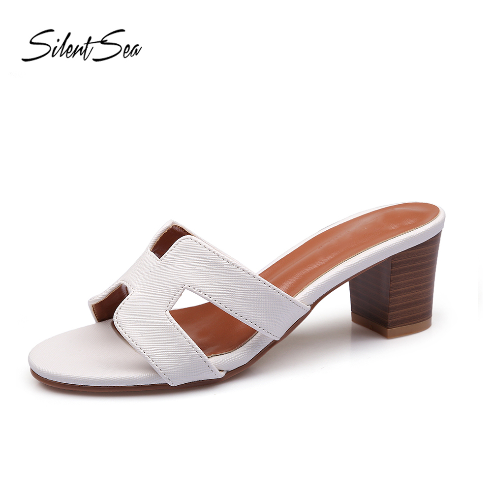 6d85bb584830e Silentsea Seaside Holiday Slippers Shoes Women Fashion 4cm Thick Heel  Sandals Beach Shoes flip flop Word Slippers White Color-in Slippers from  Shoes on ...