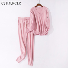 Tracksuit Ladies 2018 Autumn Winter Casual Pink Long Sleeve  Sweater and Pants 2 Piece Set Sexy Sport For Women