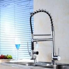 Новый стиль латуни хромированная отделка кухонный кран горячей и холодной воды вытащить смеситель с высоким давлением вытащить латунный опрыскиватель