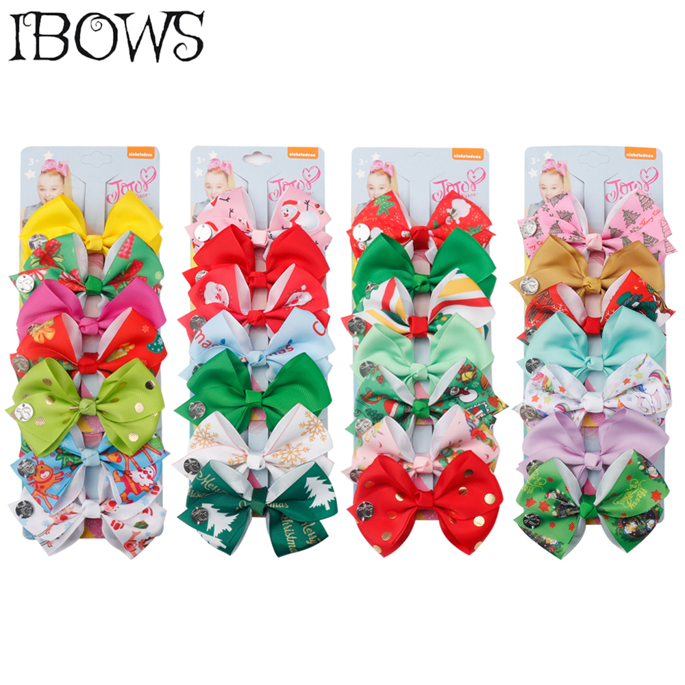 7Pcs/Set Cute Christmas Hair Clips Santa Claus Printed Hair Bows For Girls Xmas Kids Handmade Hairgrip Festival Hair Accessories