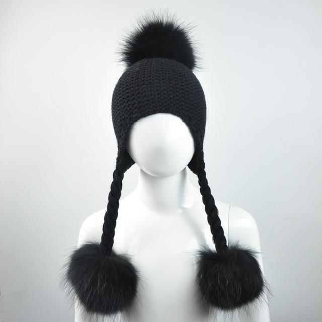 2017 Baby Winter Real Fur Hats for Children Girls Natural Fur Pompom Beanie Cap Kids Raccoon Fur Pom Pom Ball Crochet Baby Hats